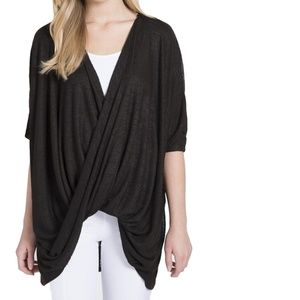 New LYSSE oversized slouchy crossover drape top L